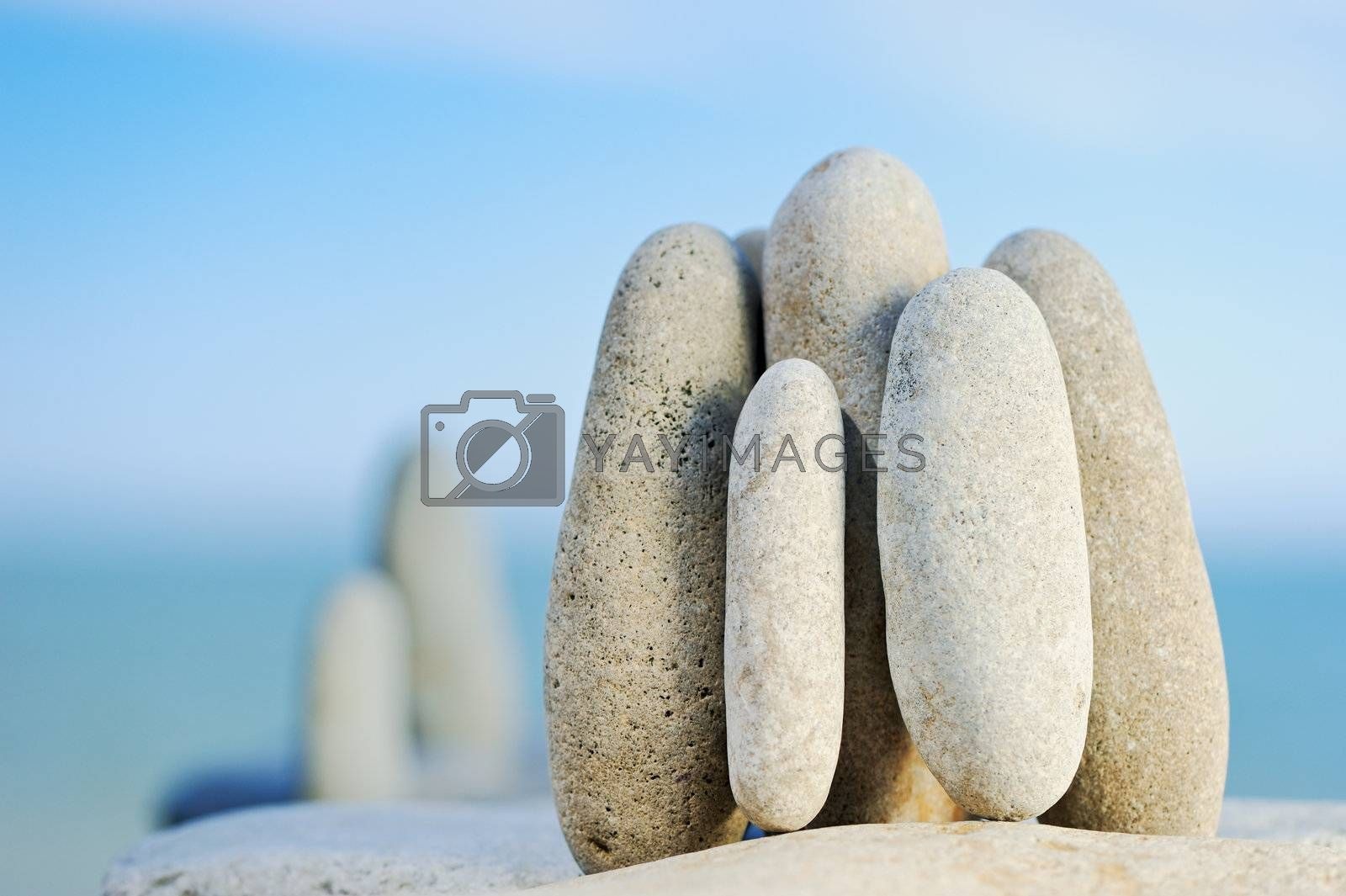 The sea pebble stands vertically early in the morning