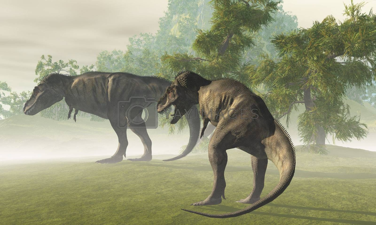 Two Tyrannosaurus Rex dinosaurs rest in the early morning light before the days hunt.
