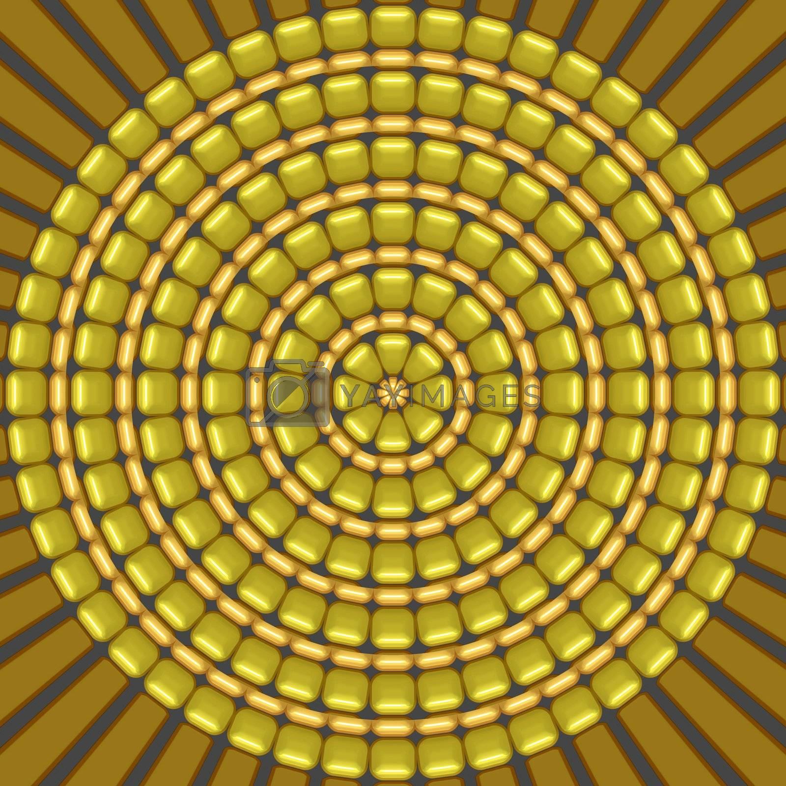 circel shape pattern of yellow corn grains