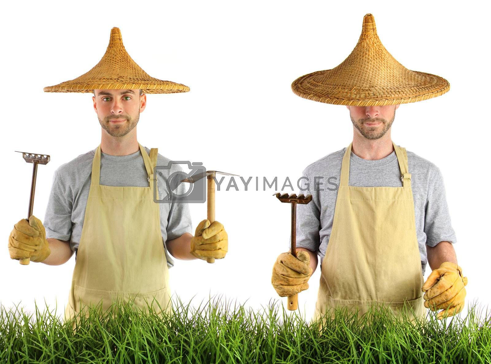 Man with Asian hat against white background