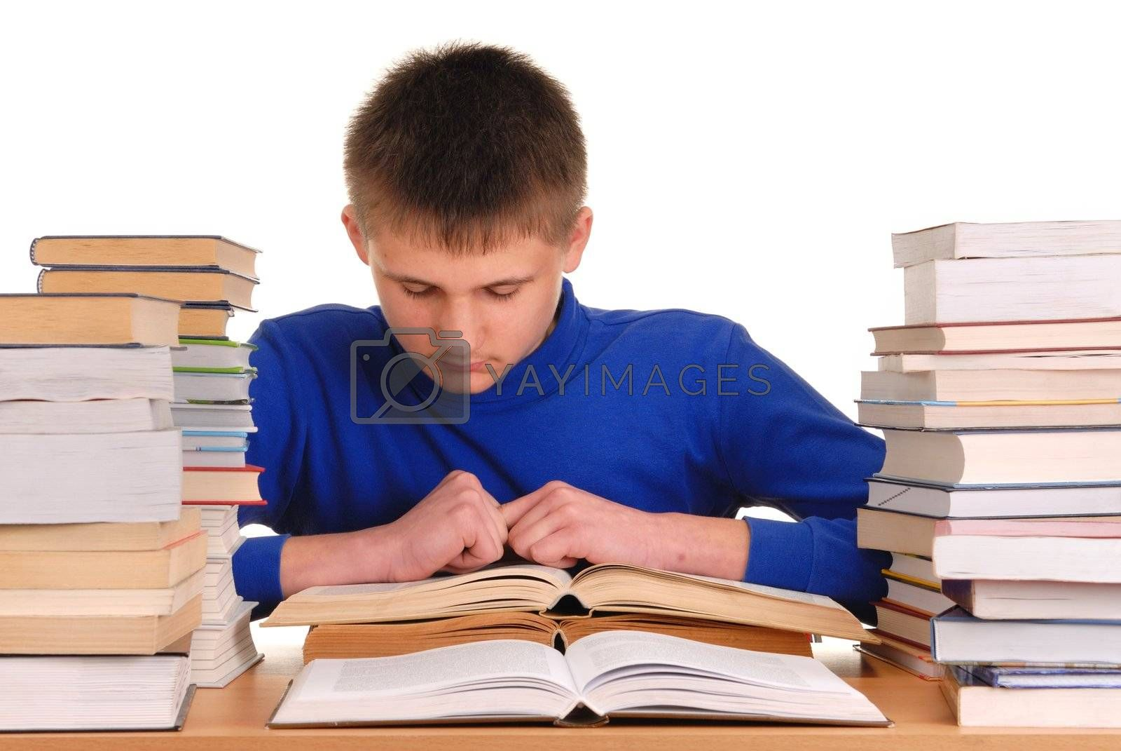 Teenager reading books, isolated on white