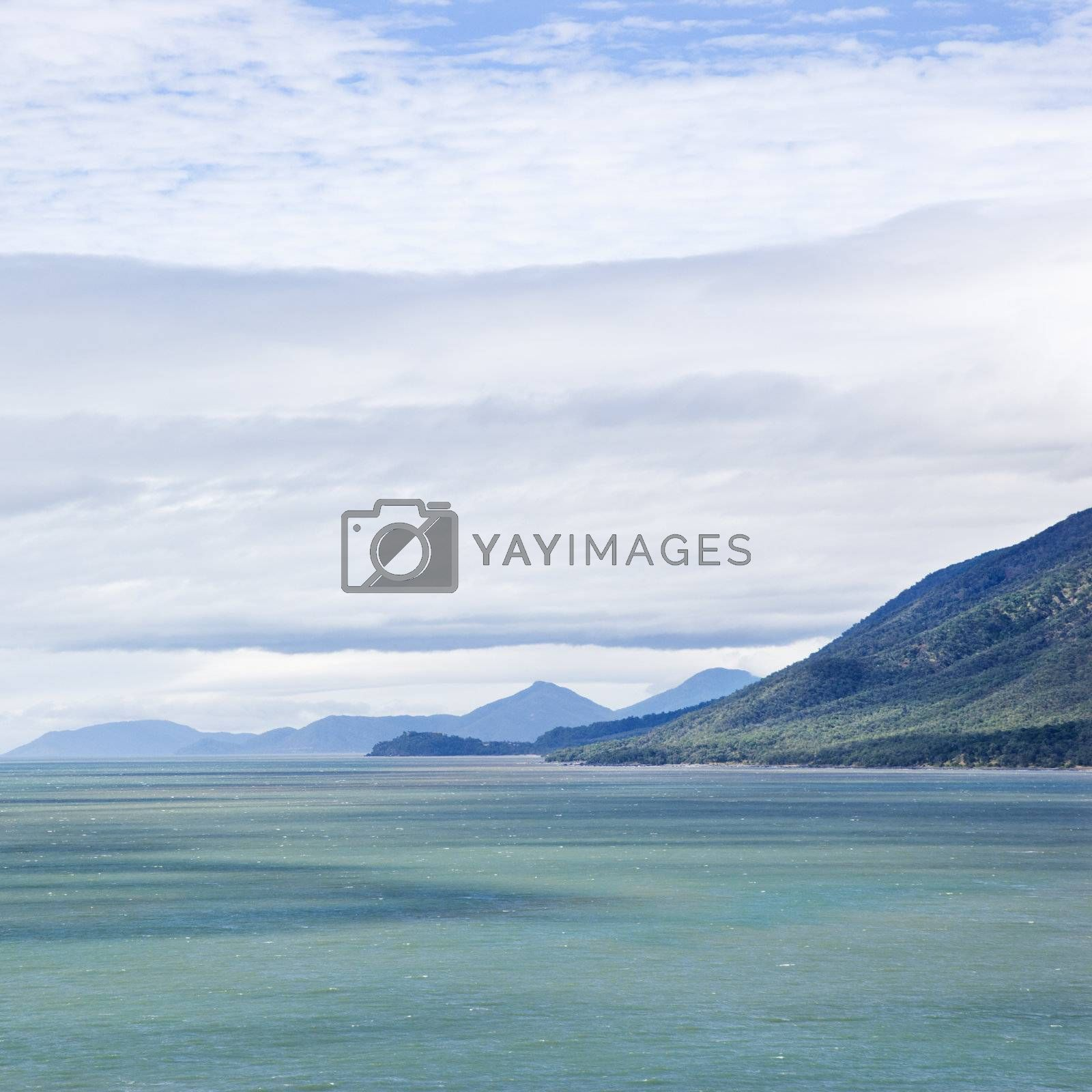 Tranquil view of mountains and sea from Queensland Rex Lookout.