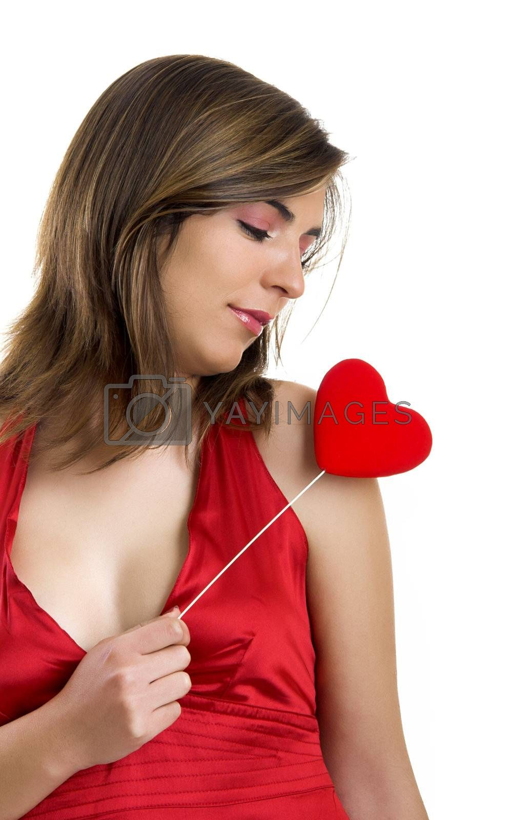 Valentine related pictures with a beautiful woman with a heart on the hands