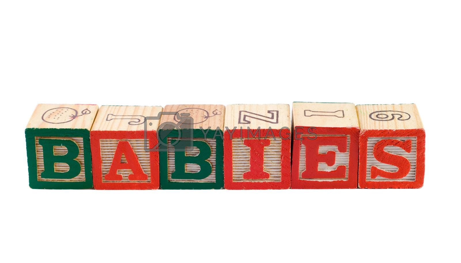 The word babies, spelled using colored letter blocks