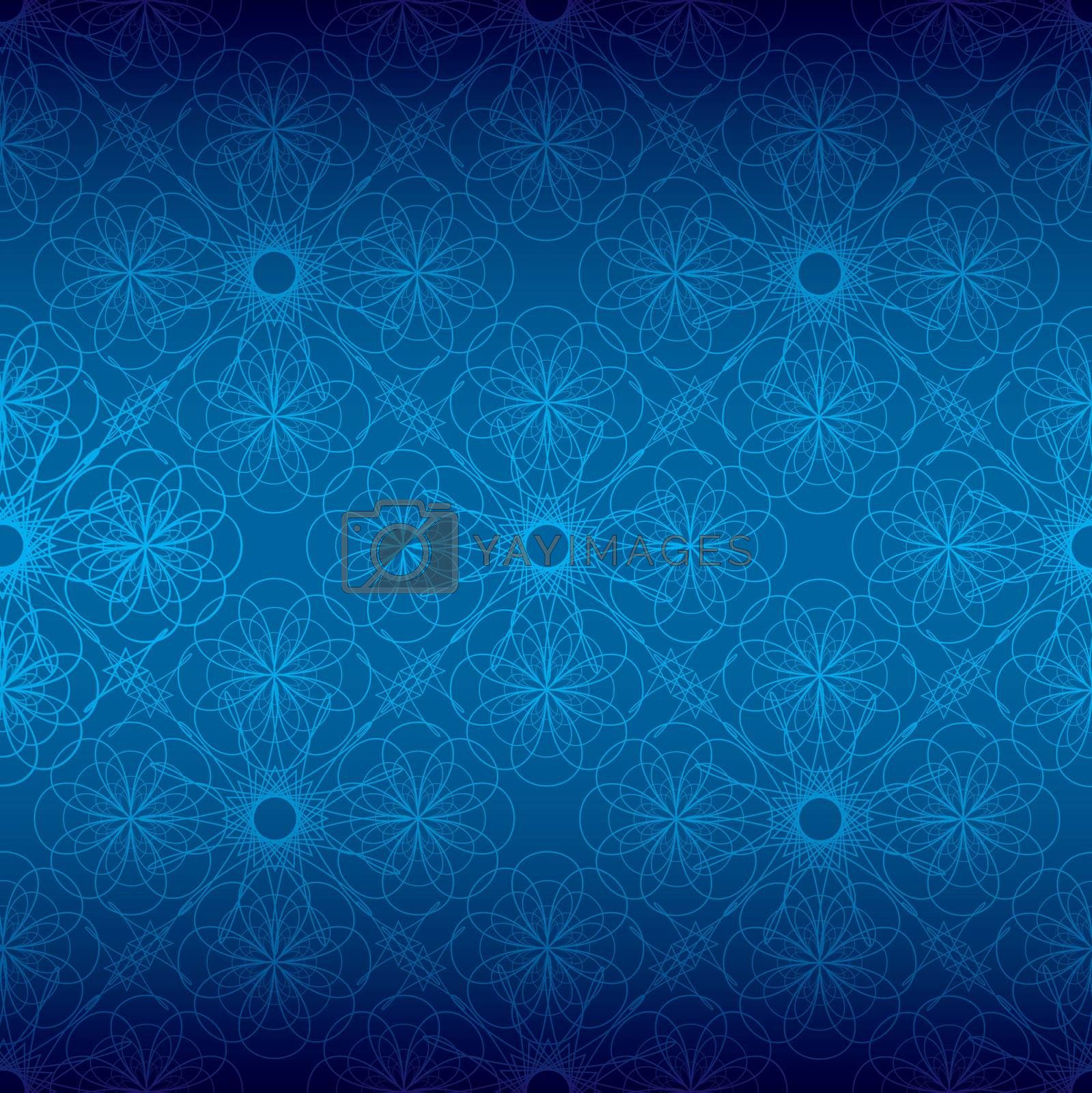 shades of different blues with seamless floral spiral background pattern