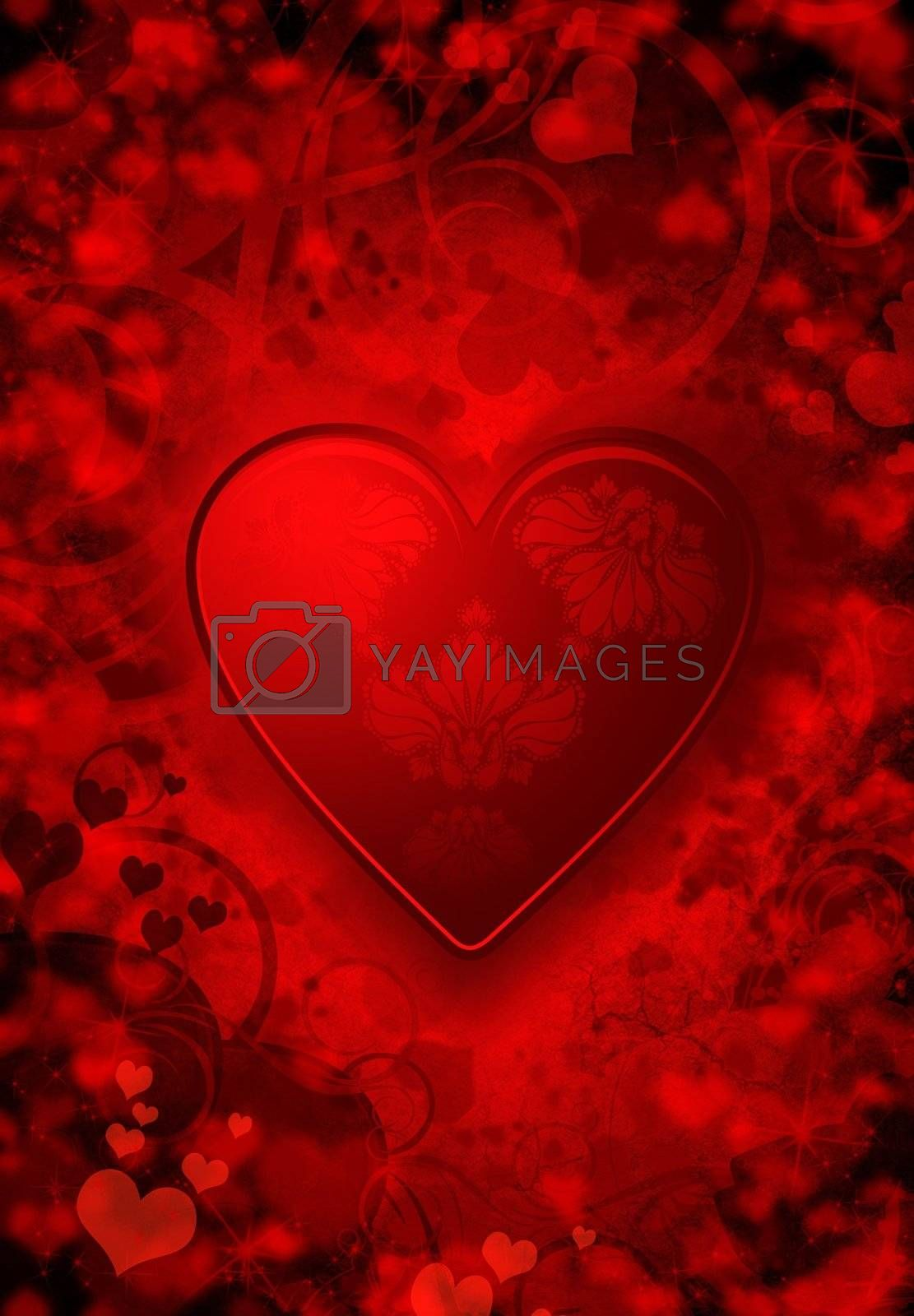 Valentines background with ornament and hearts