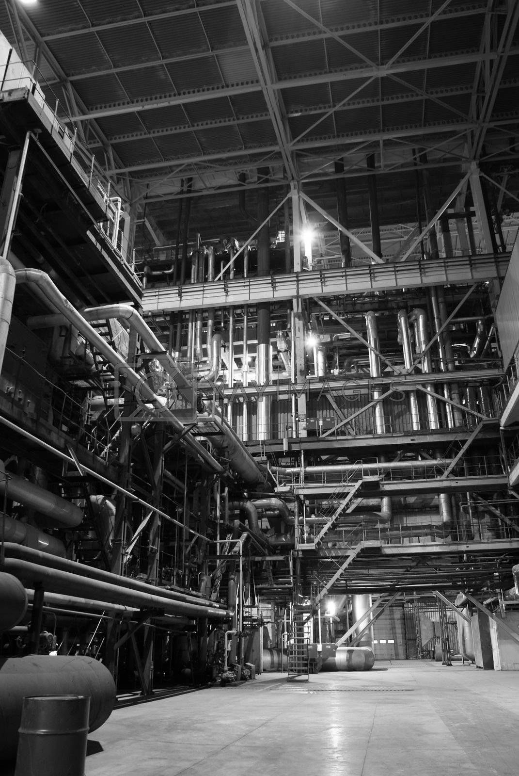 different size and shaped pipes at a power plant