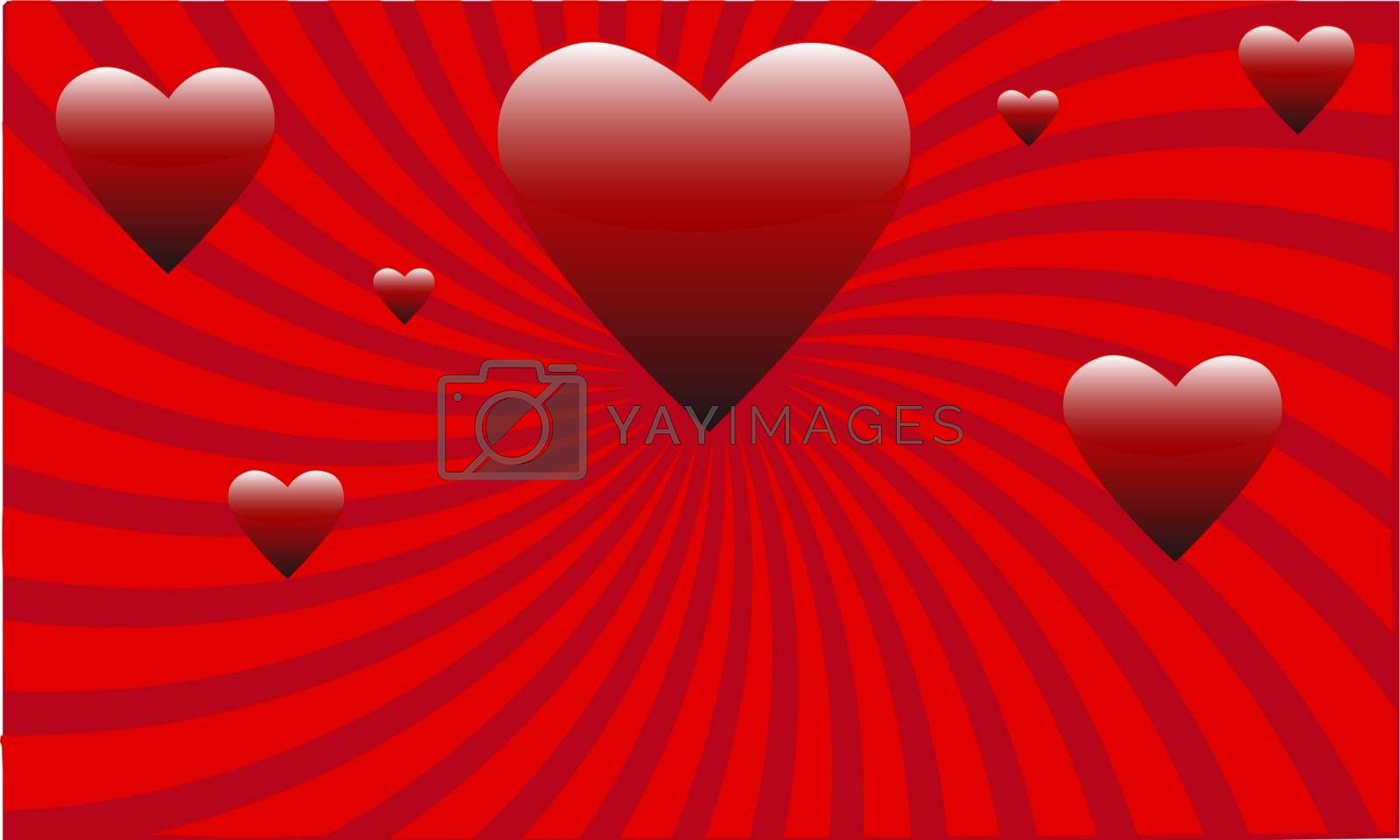many red Valentines Abstract hearts