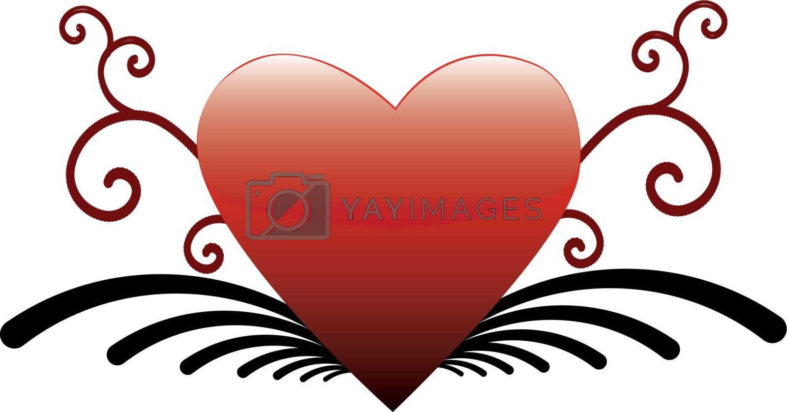 Valentines Abstract heart on a white background