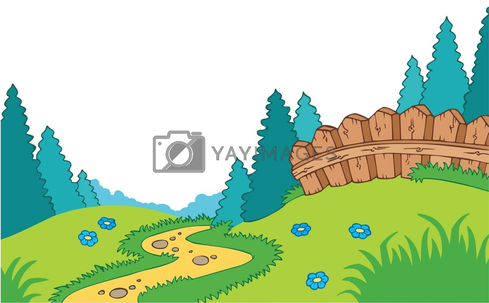 Cartoon country landscape - vector illustration.