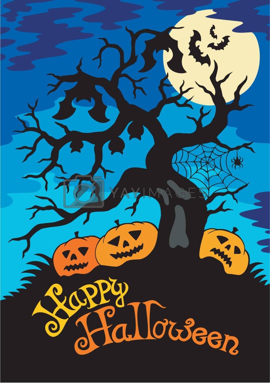 Happy Halloween theme with tree by clairev