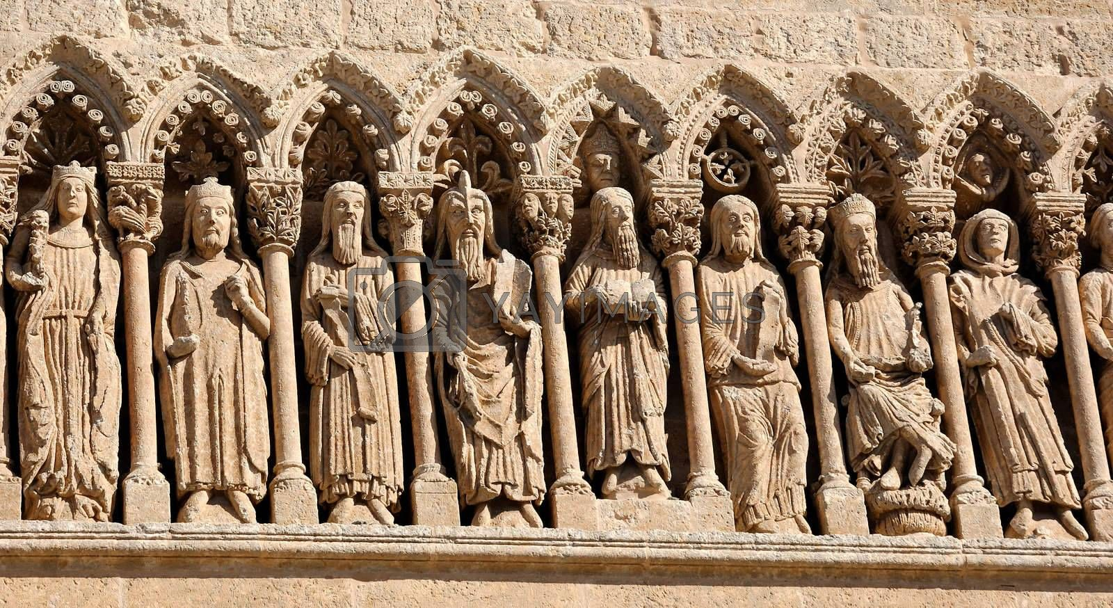 Frieze of the Cathedral of Ciudad Rodrigo (Salamanca) in Spain