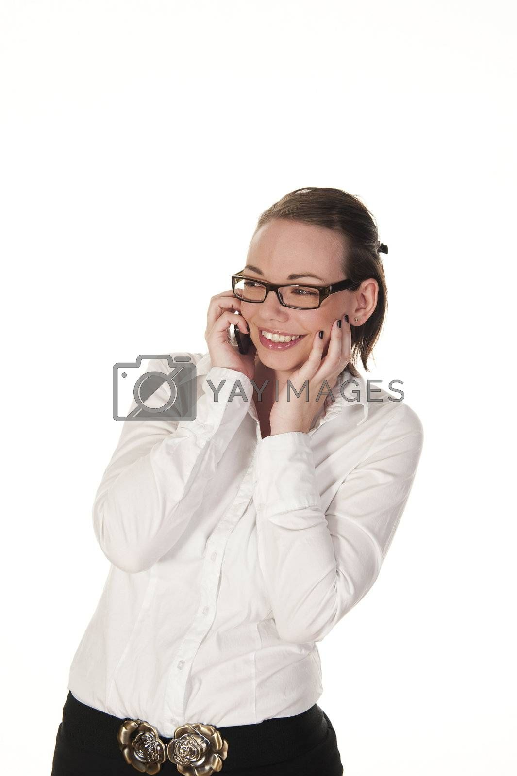 Smiling girl on the phone, isolated on white background