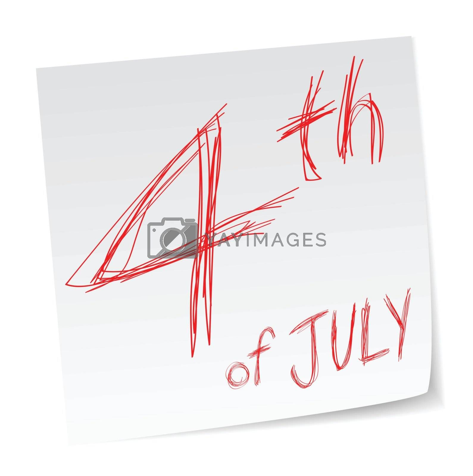 4th of July, Independence day, a message with a date of calendar.