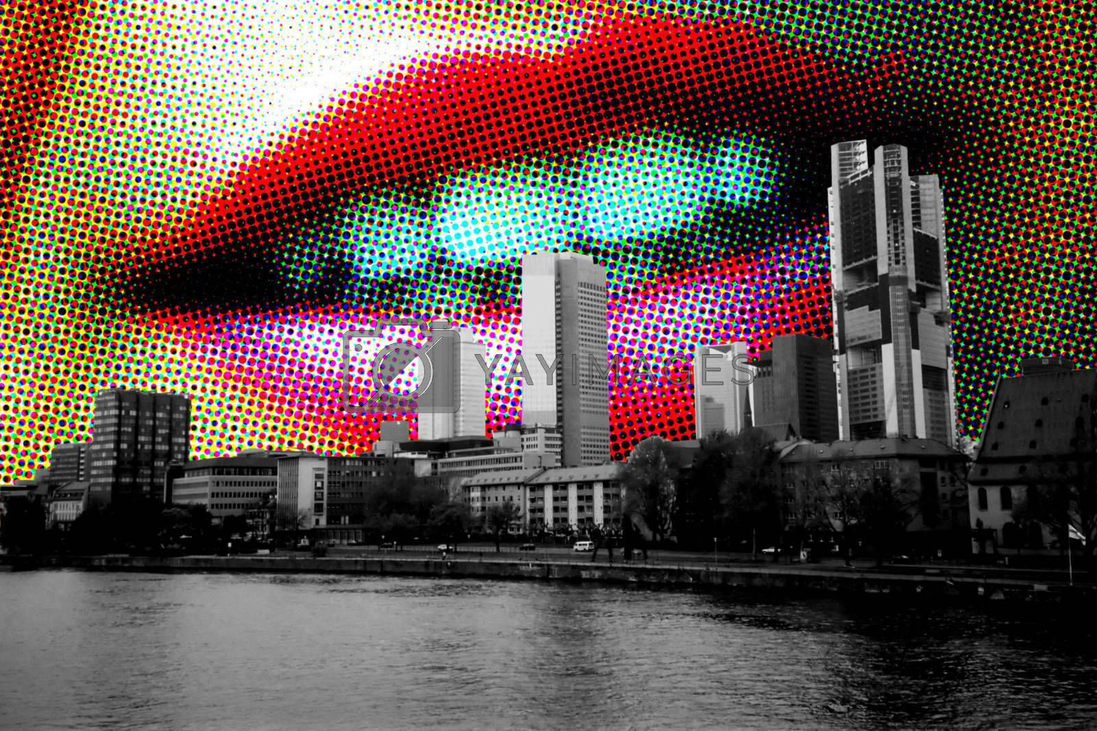 Fashion glamour halftone girl lips and city skyline