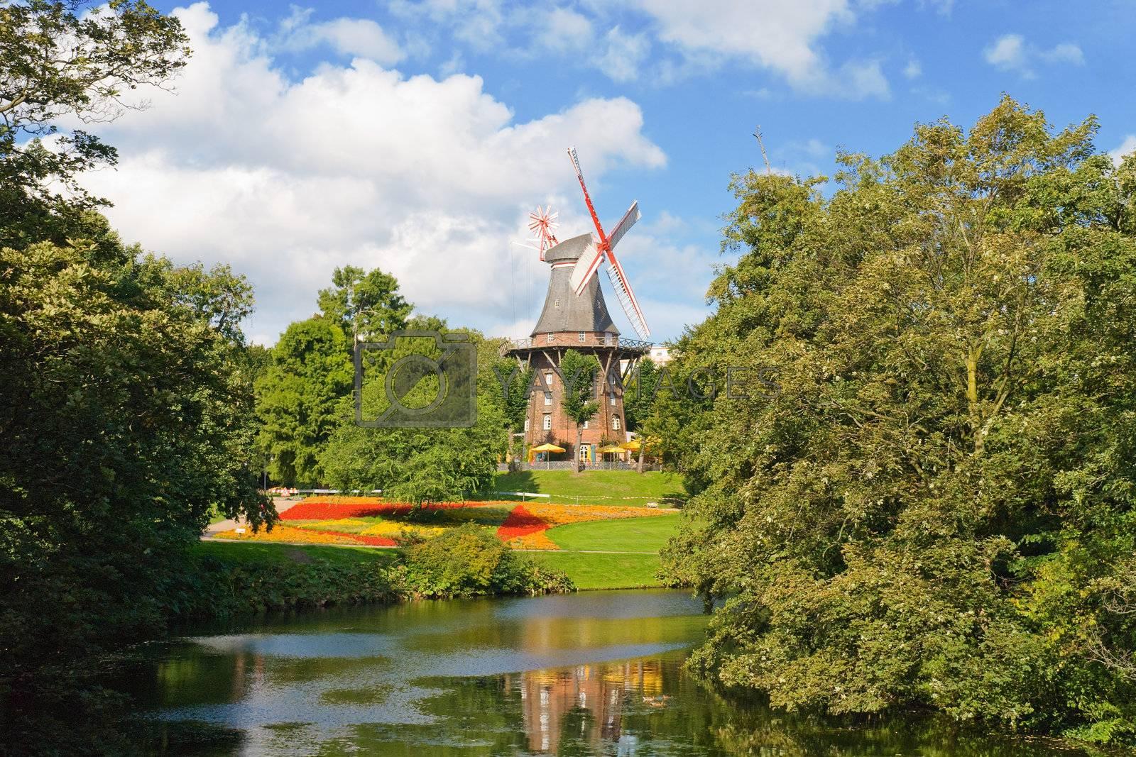 Windmill near a river in Bremen, Germany