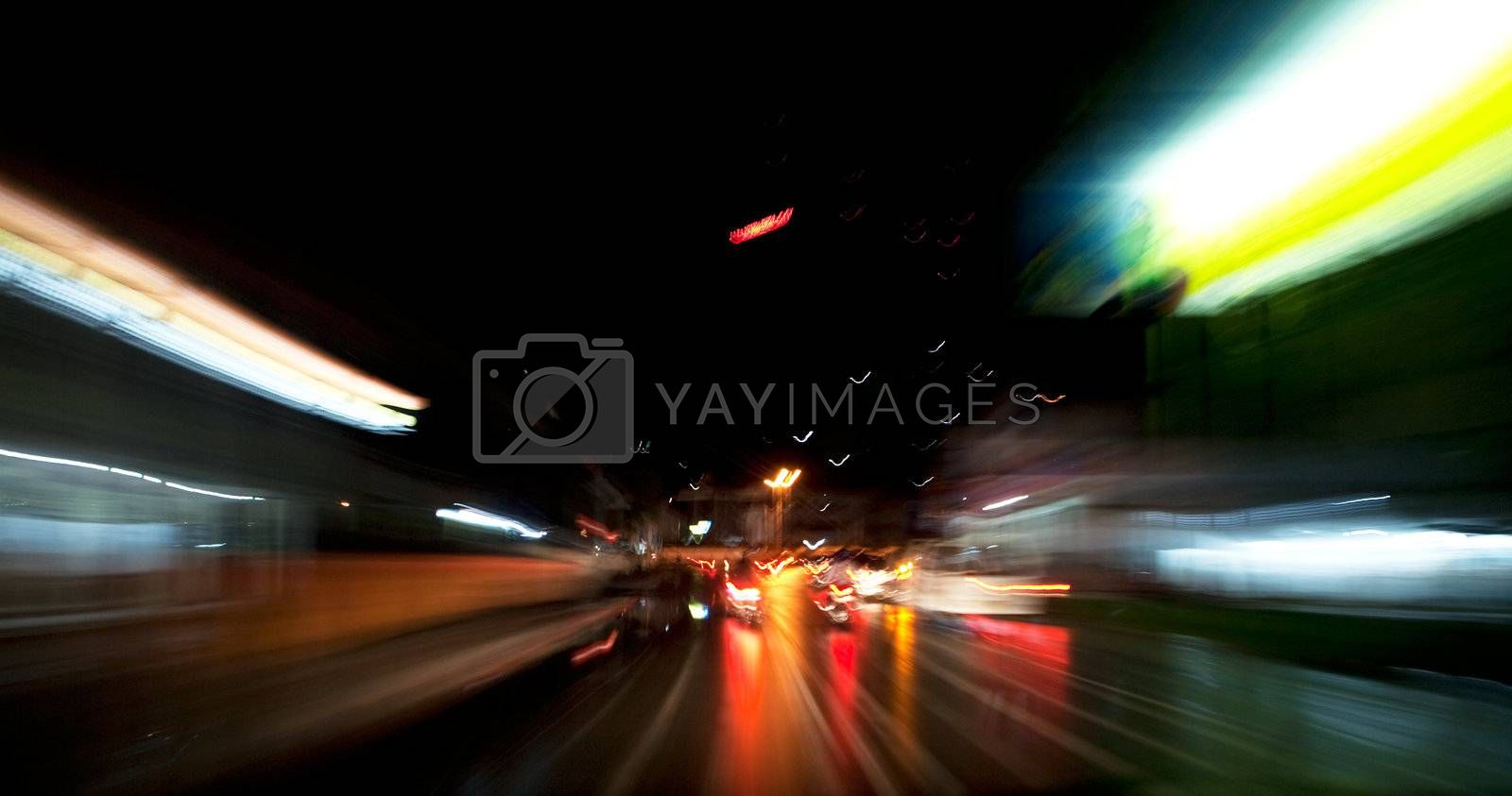 A motion blur with night driving