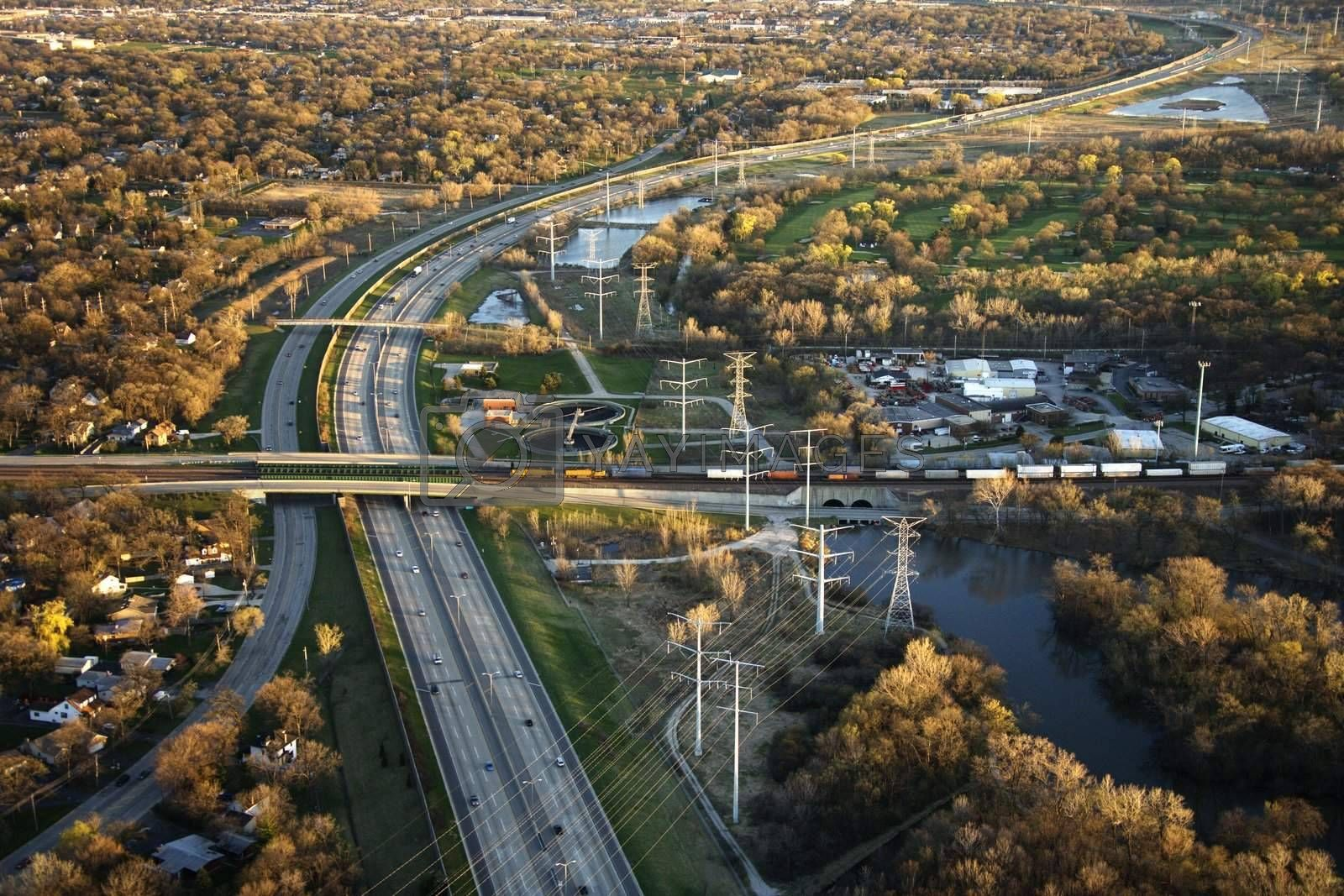 Aerial view of interstate and railroad in Chicago, Illinois.