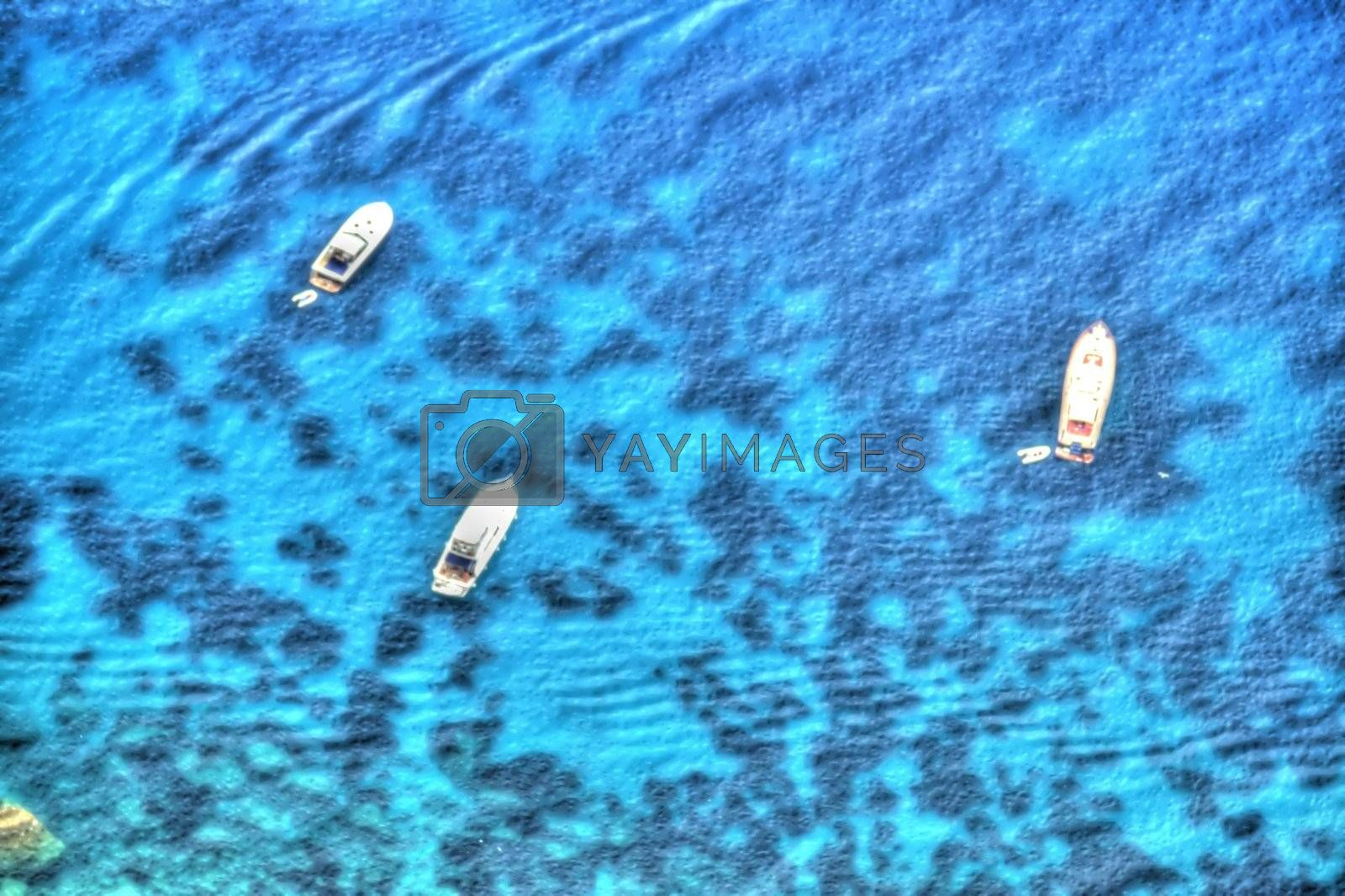 Royalty free image of Painted Yachts from Above by jasony00