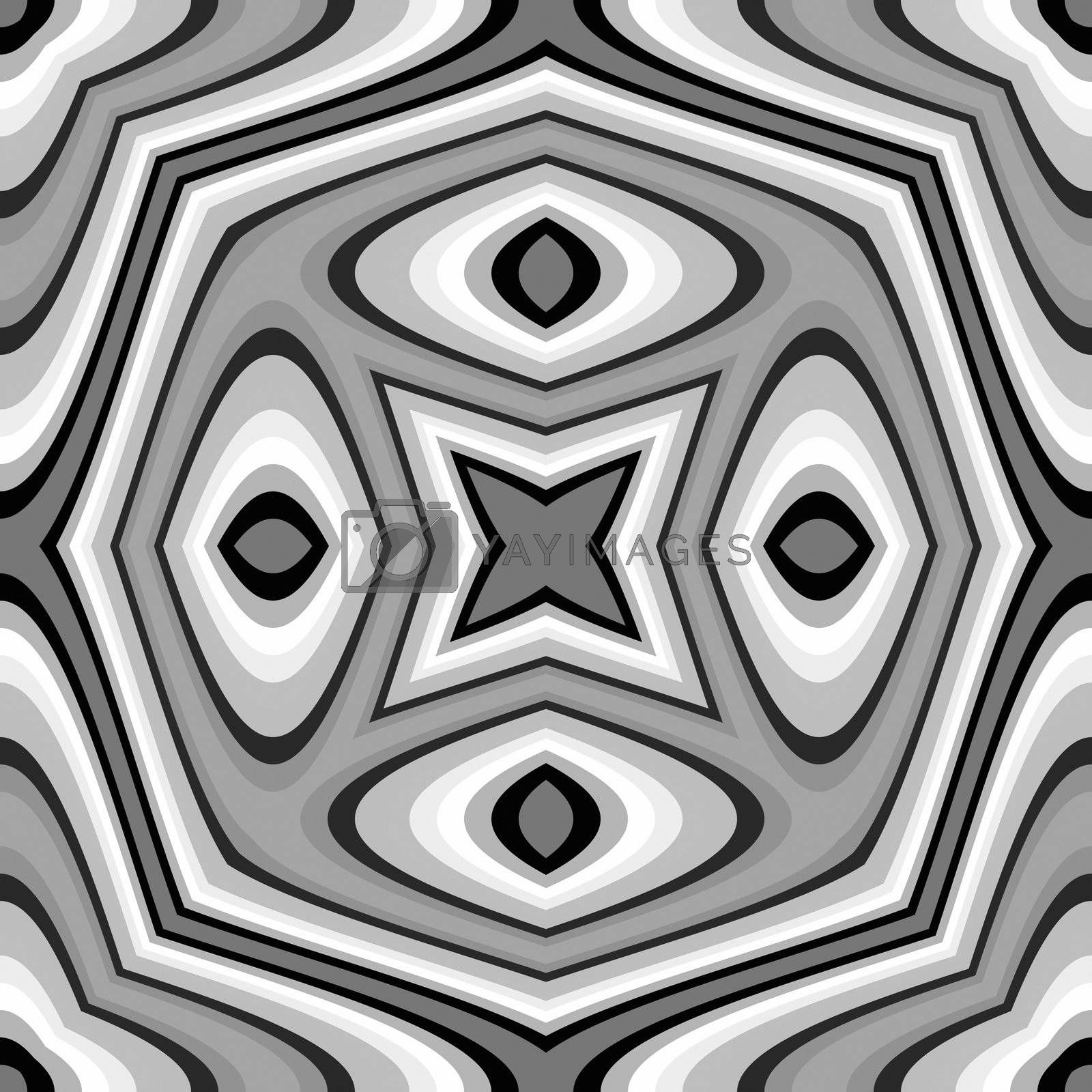 seamless mandala shape in black and white