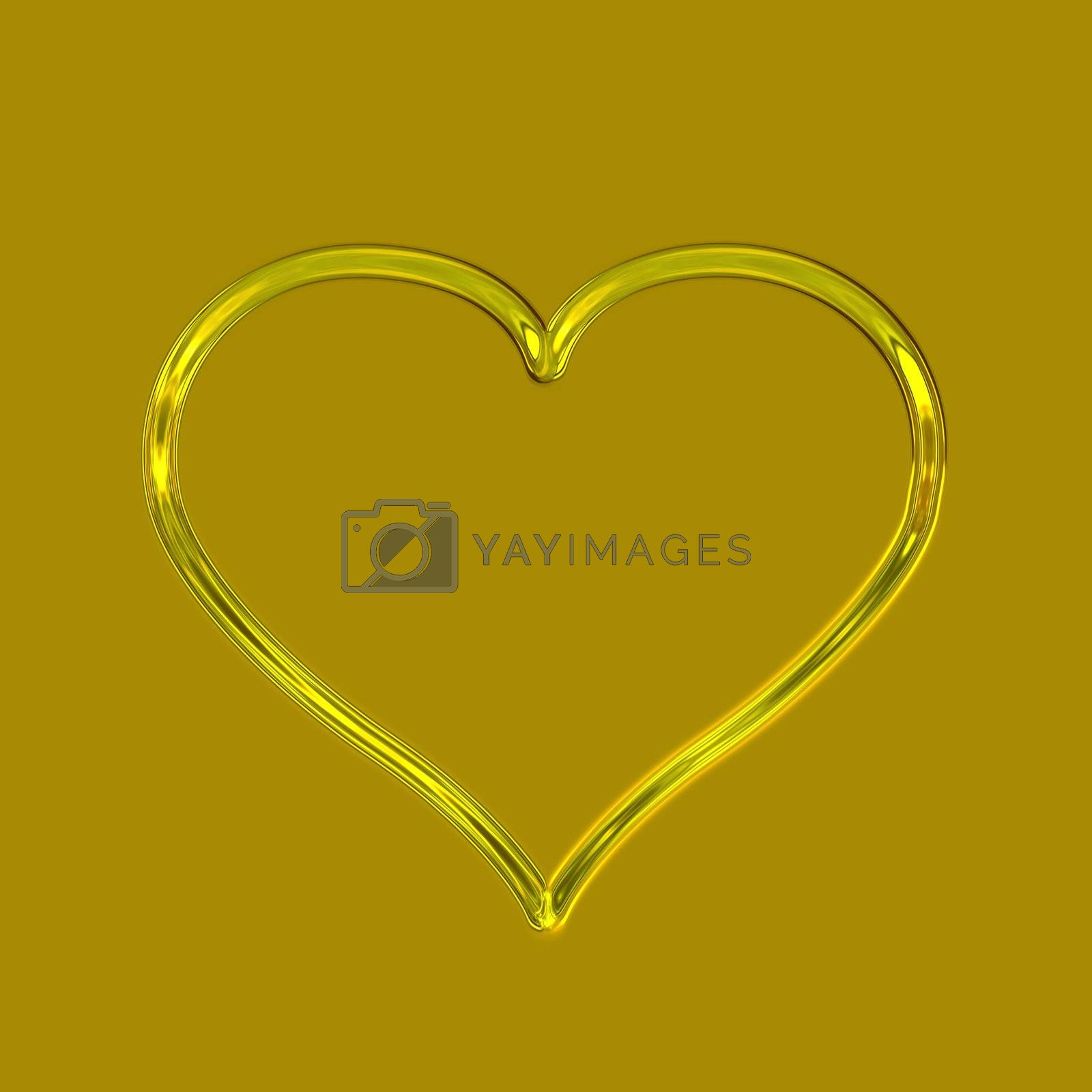 one glossy golden heart on a golden background