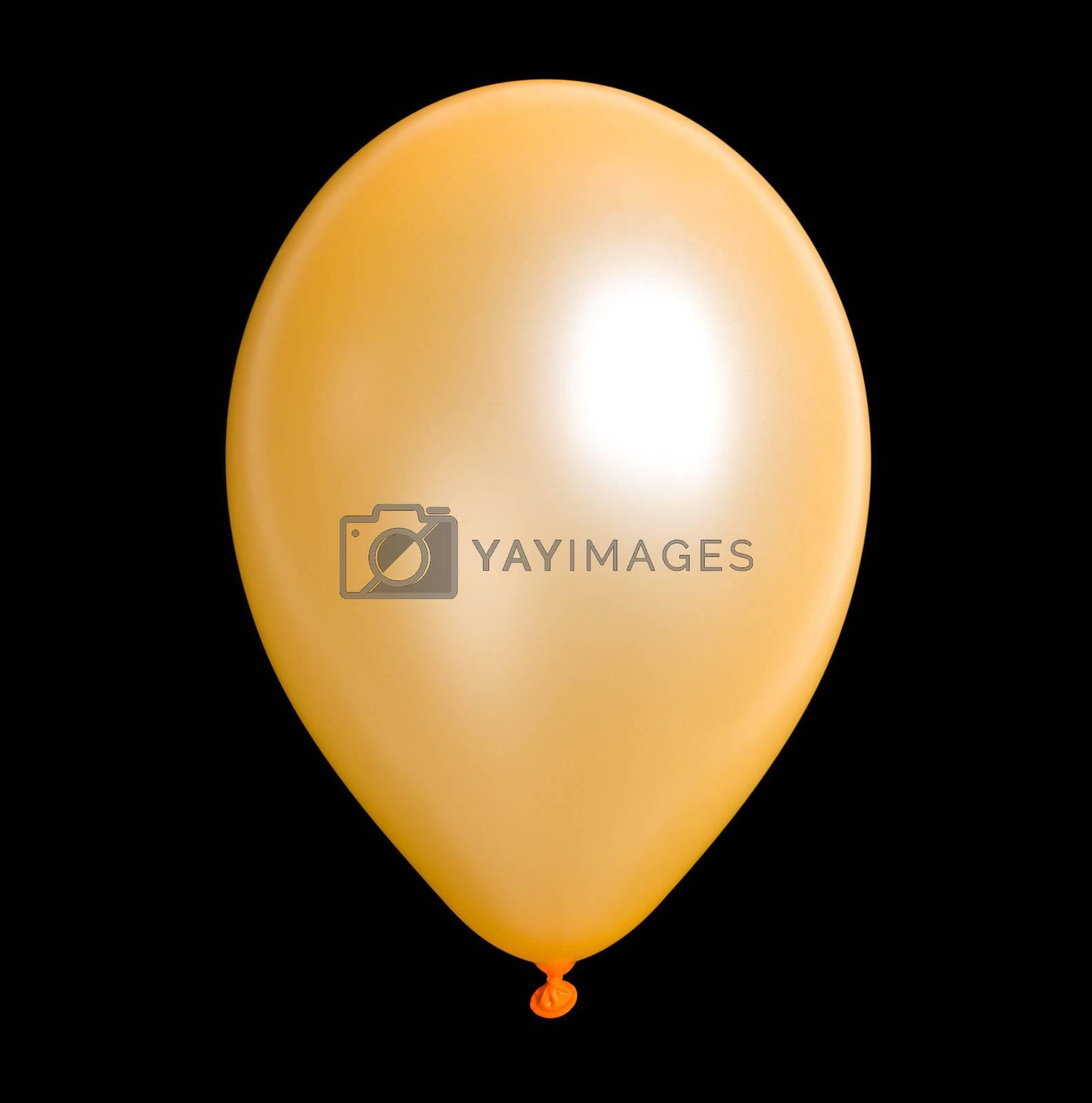 close-up orange balloon, isolated on black