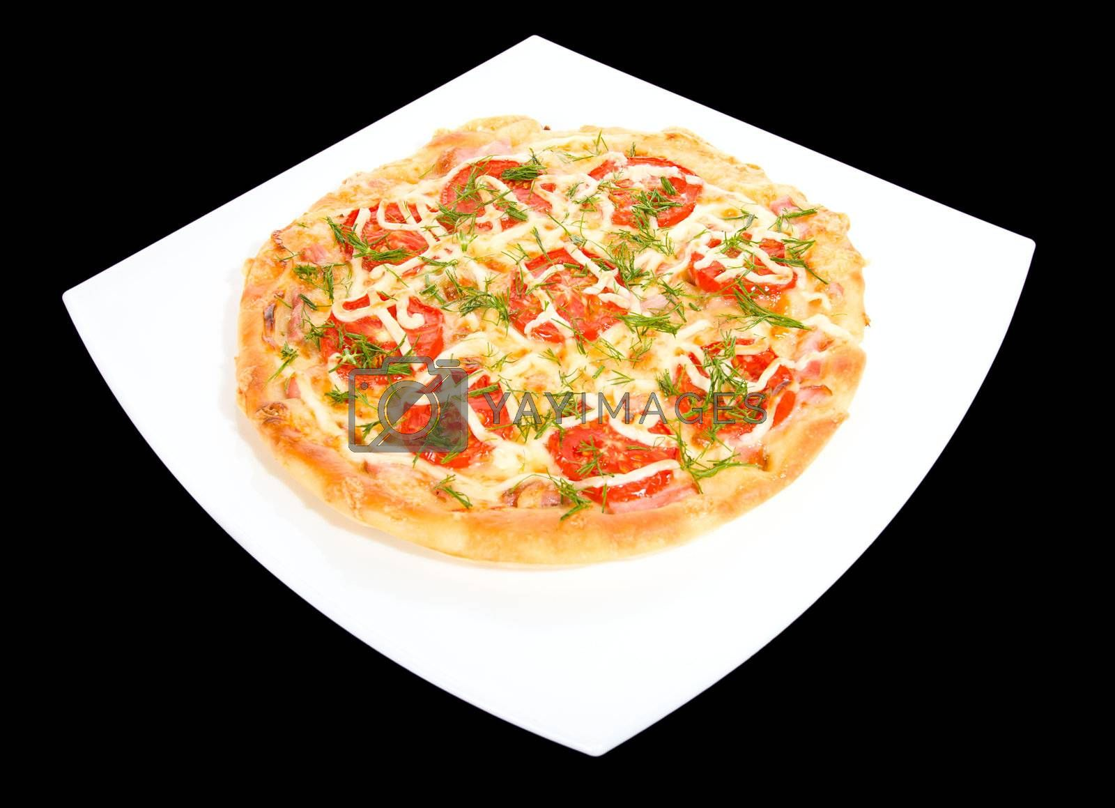 round pizza on square plate, isolated over black background