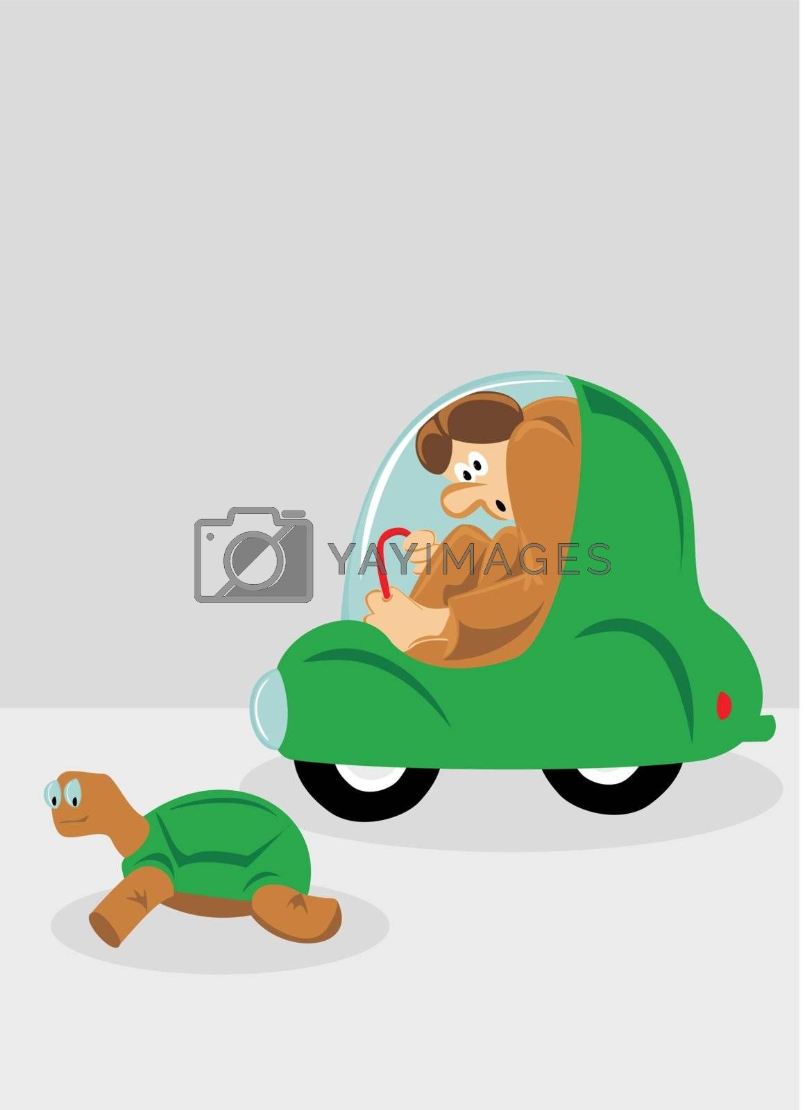 Tall man stuck in a small car is passed by a turtle faster than him