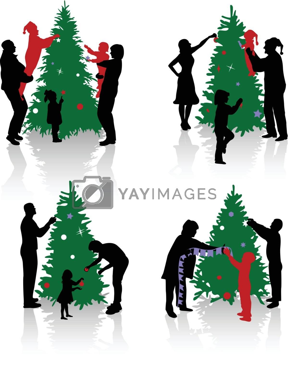 Silhouettes of the people decorating a Christmas tree.
