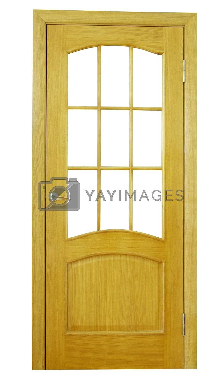 wooden door isolated on white