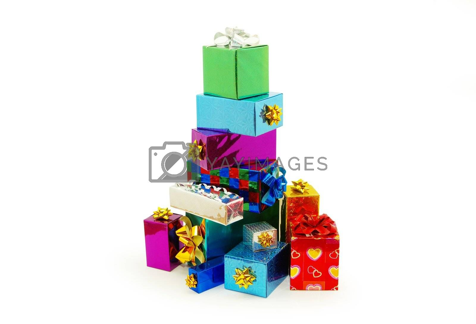 Christmas box gifts with satin bow isolated on white background