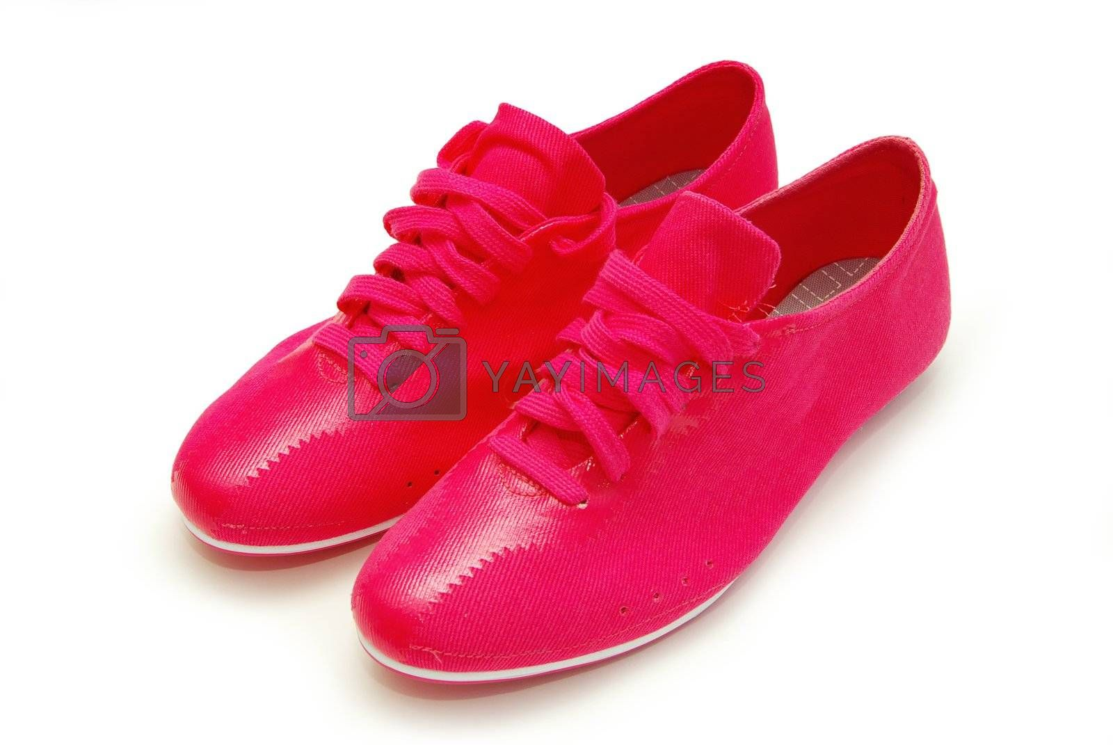 close-up of red  shoes isolated on white