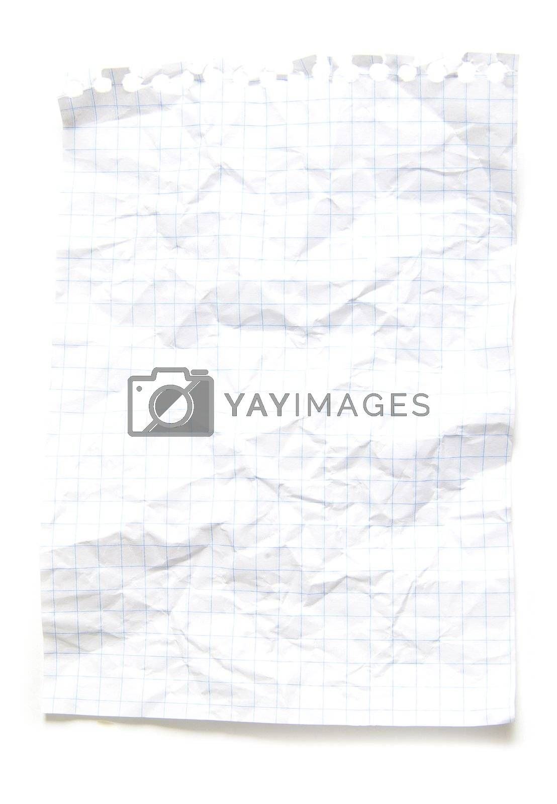 sheet from notebook on white background