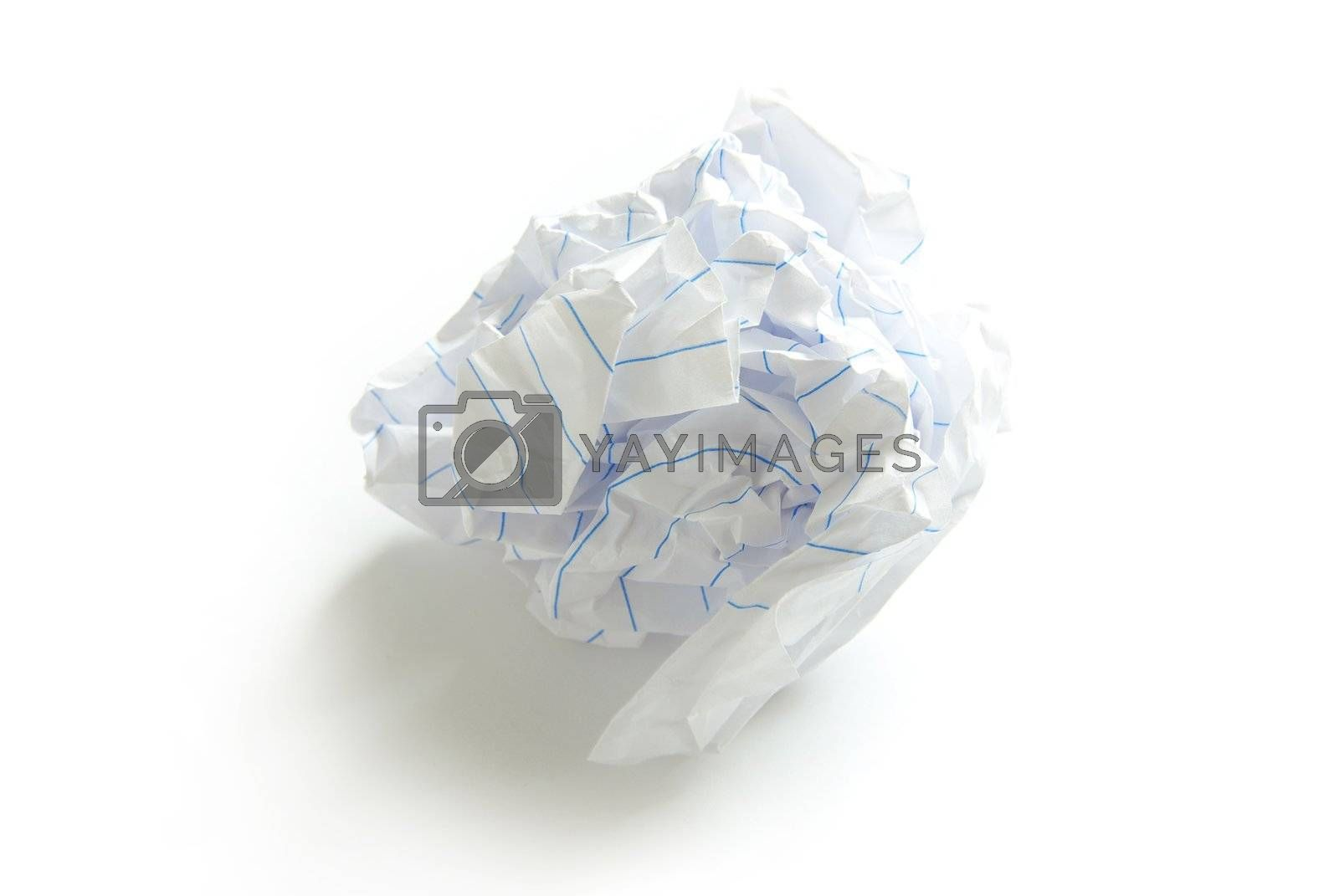crumpled paper ball isolated on a white