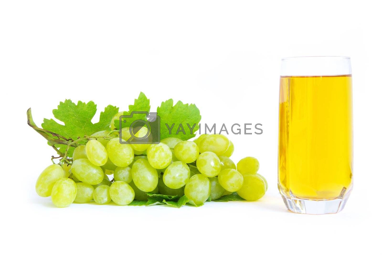 fresh grape fruits with green leaves isolated on white background