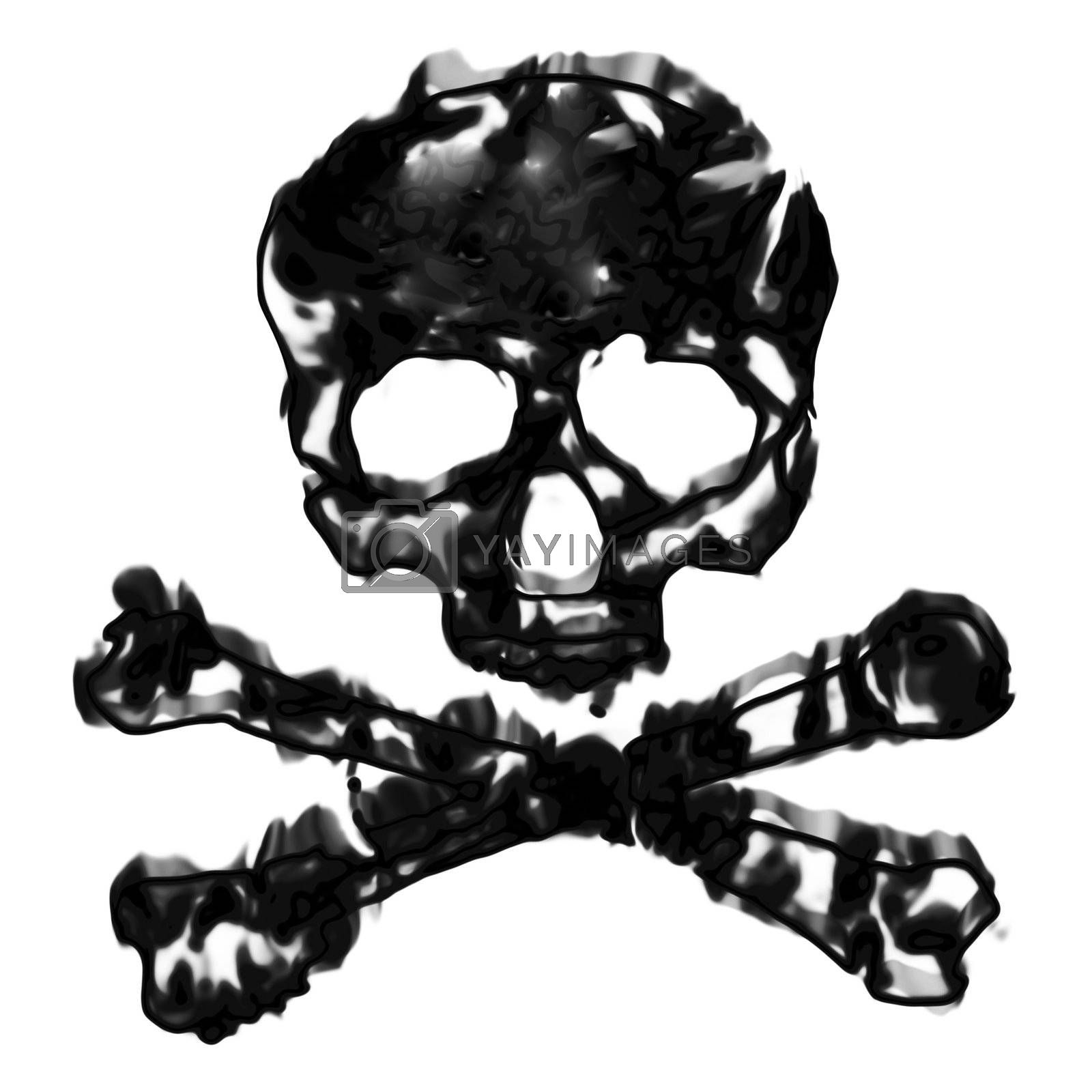 Skull and cross bones illustration isolated over a white background.
