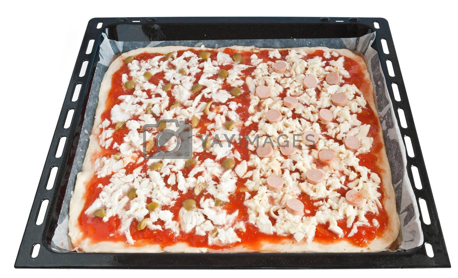 Royalty free image of baking pan with pizza by antonioscarpi