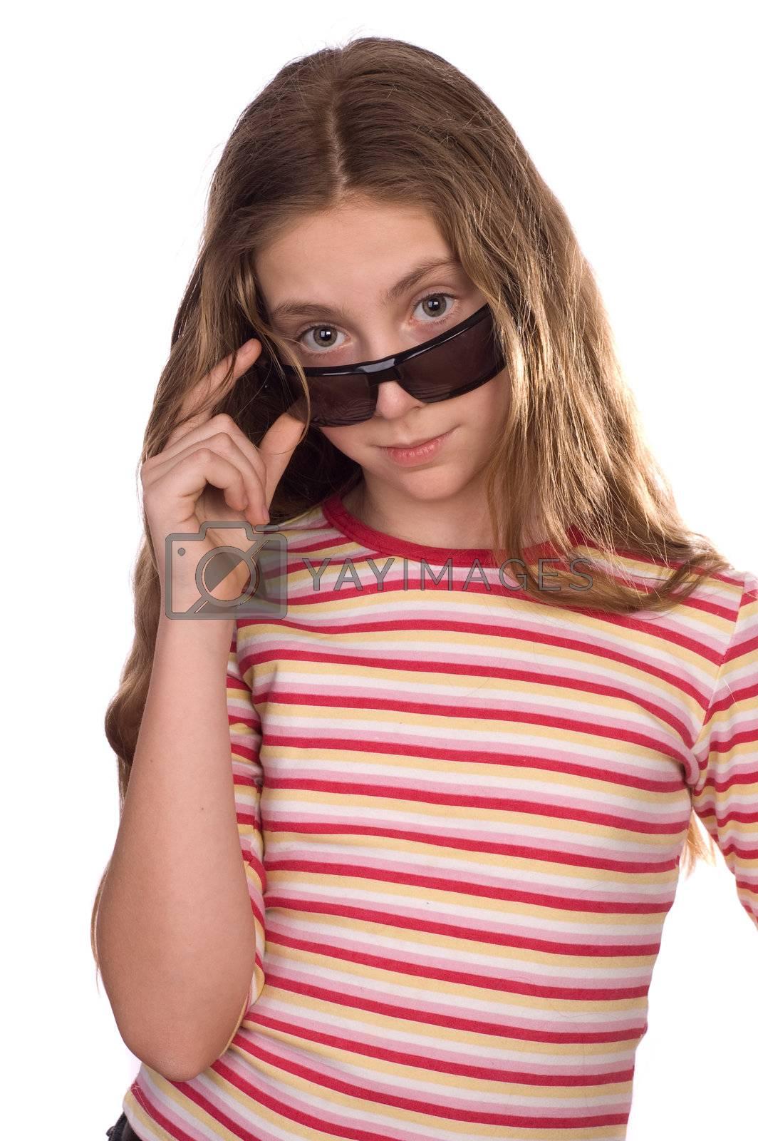 Royalty free image of Teenage girl wearing sunglasses isolated on white by iribo