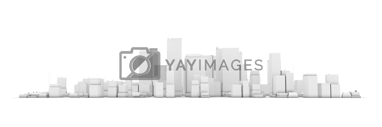 Royalty free image of Wide Cityscape Model 3D - White City White Background by PixBox