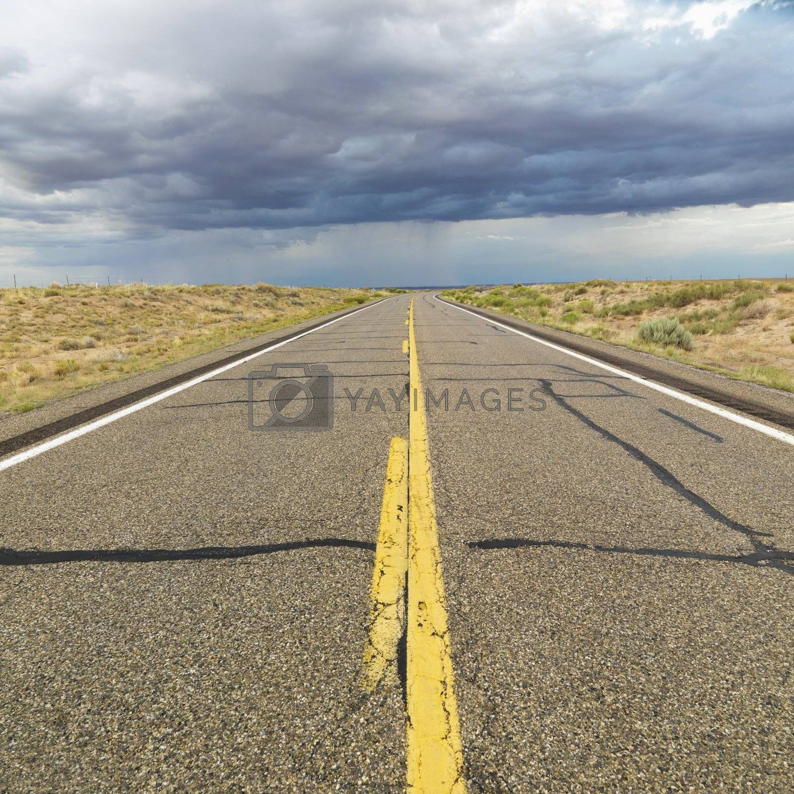 Empty two lane highway leading to desert horizon.