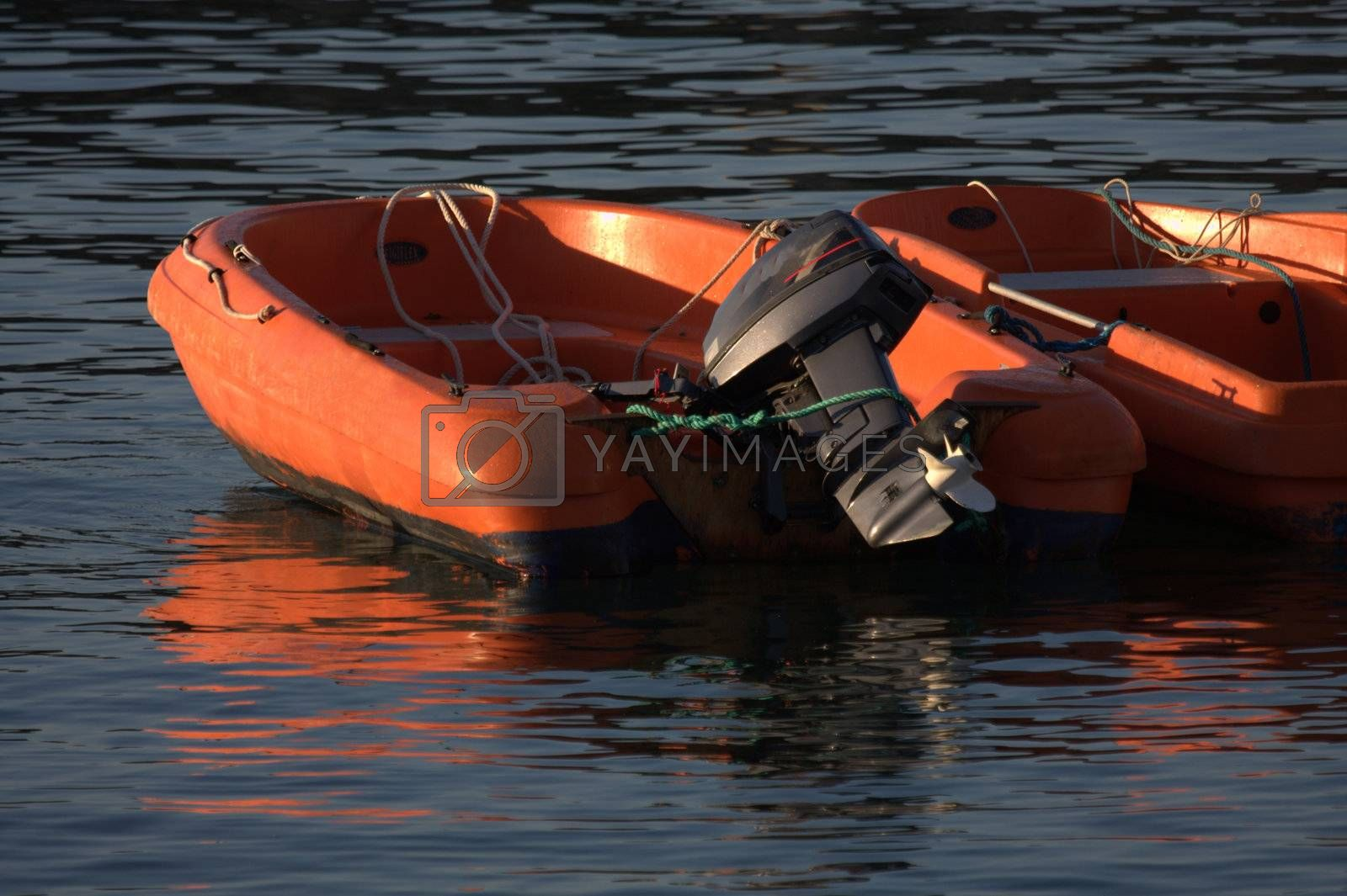 Royalty free image of two inflatable boats by allg