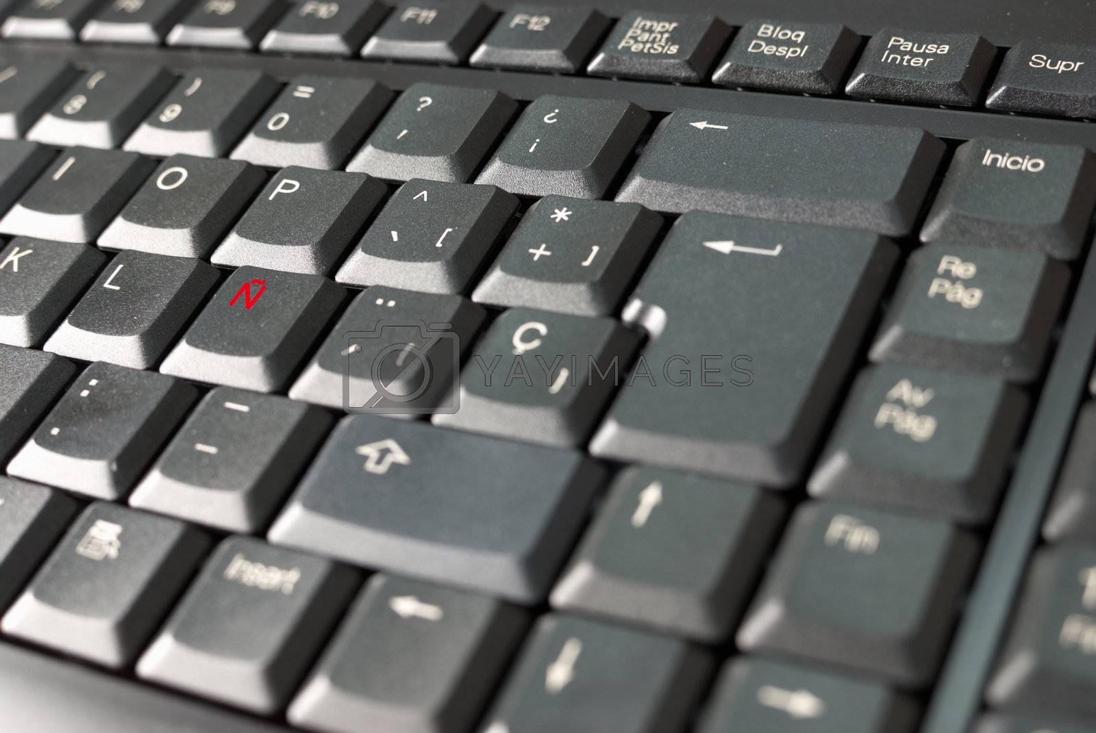 Royalty free image of Spanish keyboard by hemeroskopion
