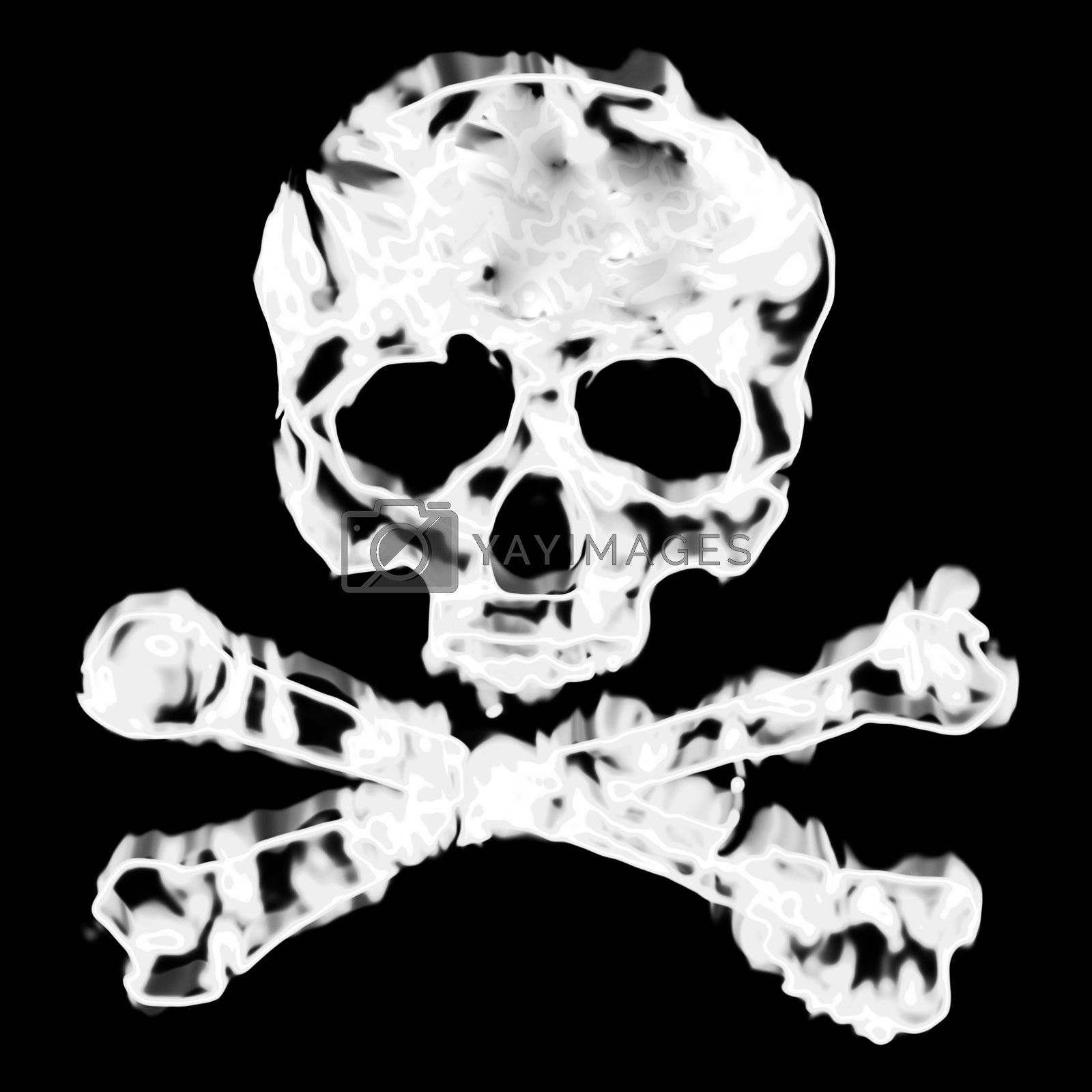 Skull and cross bones illustration isolated over a black background.