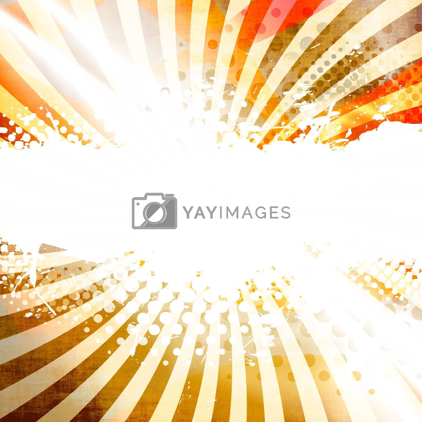 A golden abstract background layout with halftone dots and negative space.