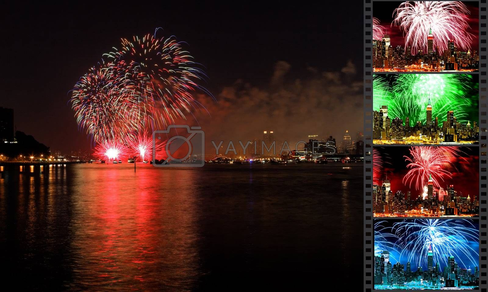 NEW YORK - JULY 4: The largest  fireworks in the country displayed over the Hudson River - the Macy's 4th of July fireworks on July 4, 2010 in New York City.