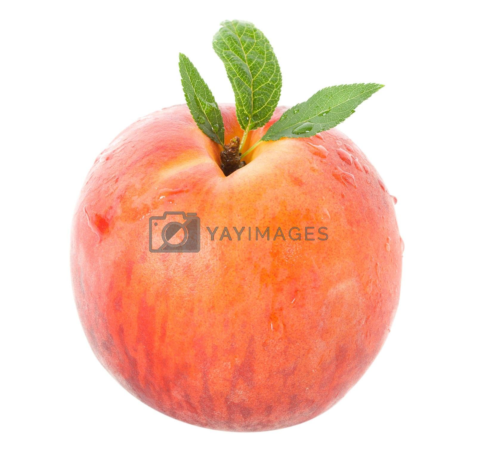 ripe peach with leaves, isolated on white