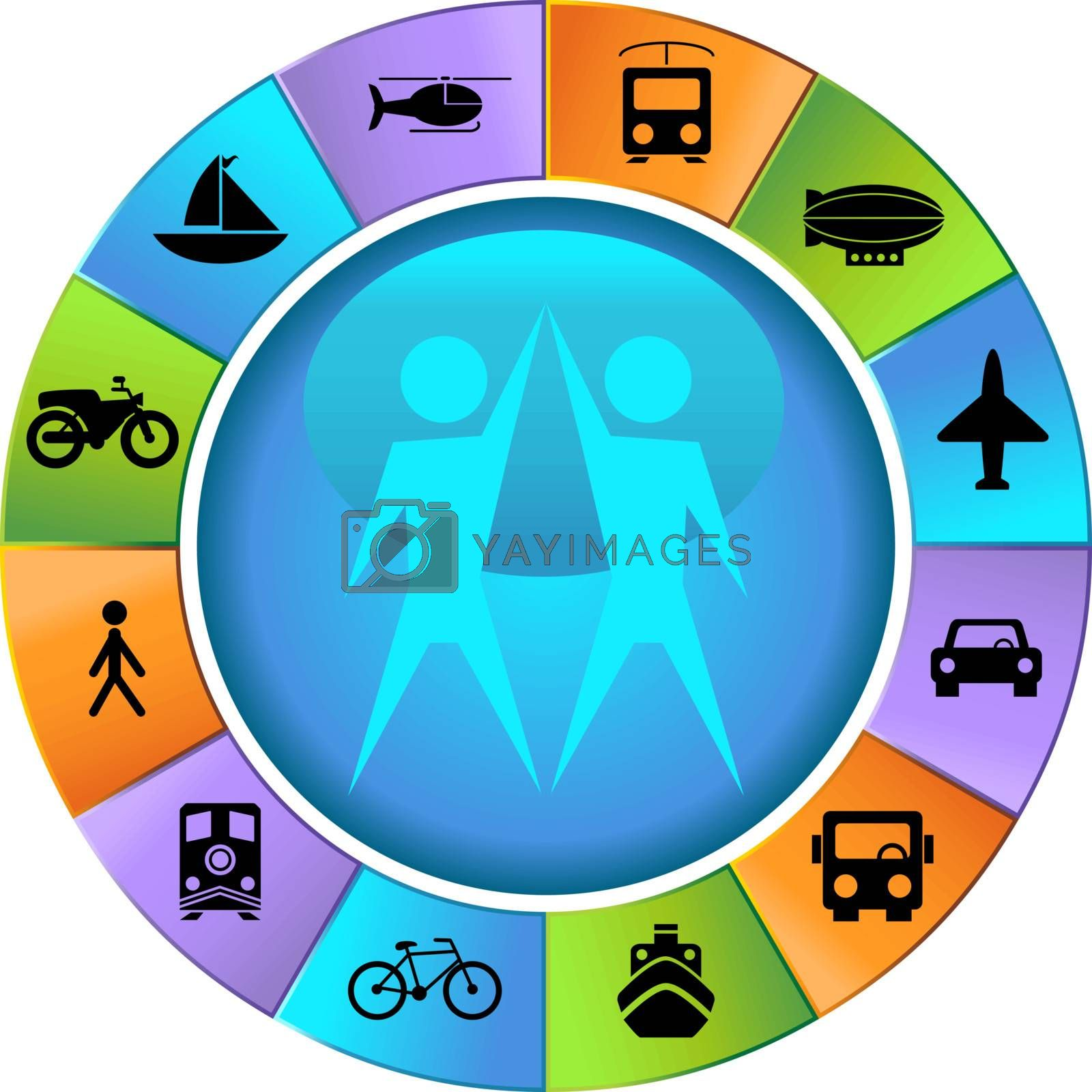 Set of 12 transportation web buttons - wheel style.
