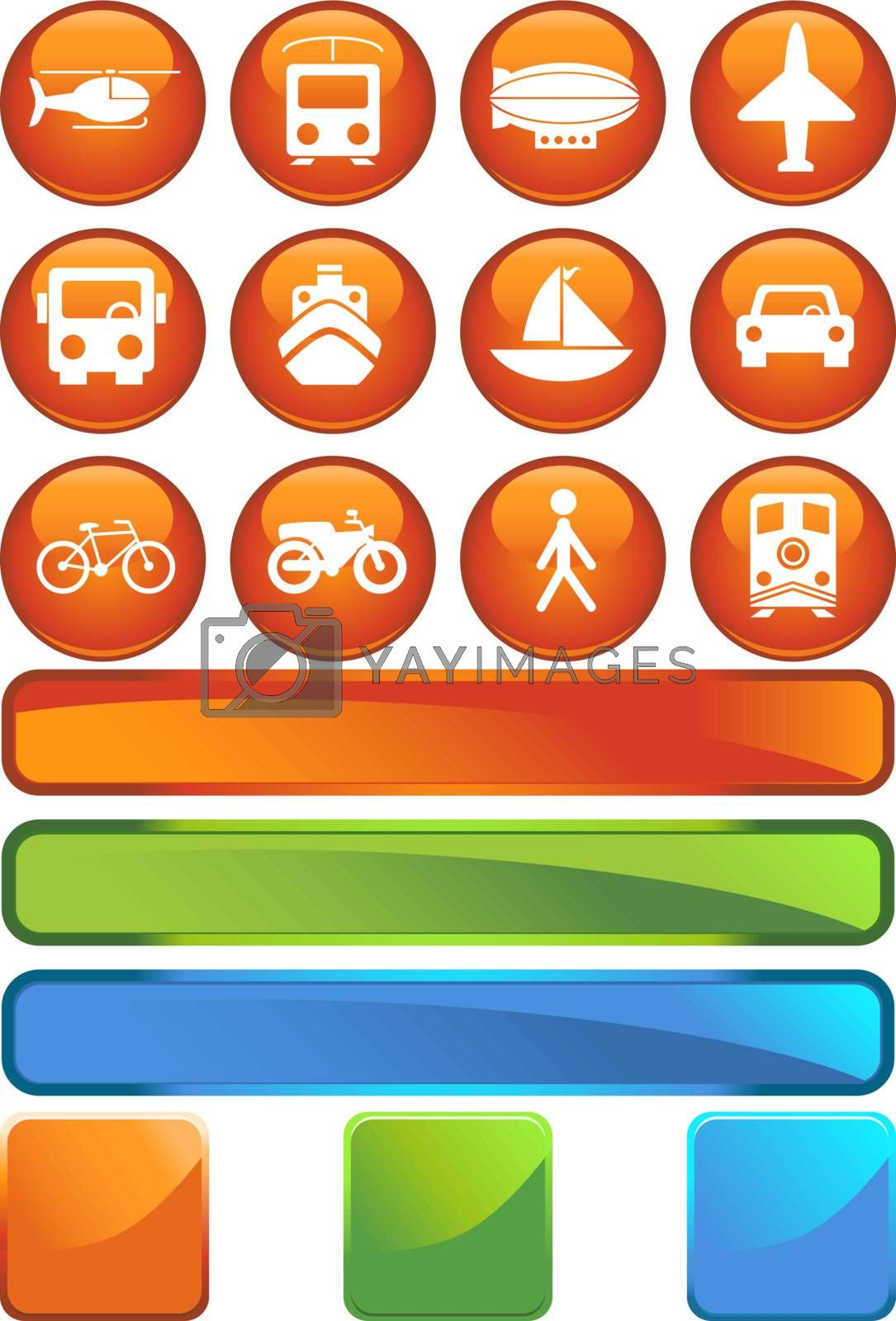 Set of 12 transportation web buttons - round style.