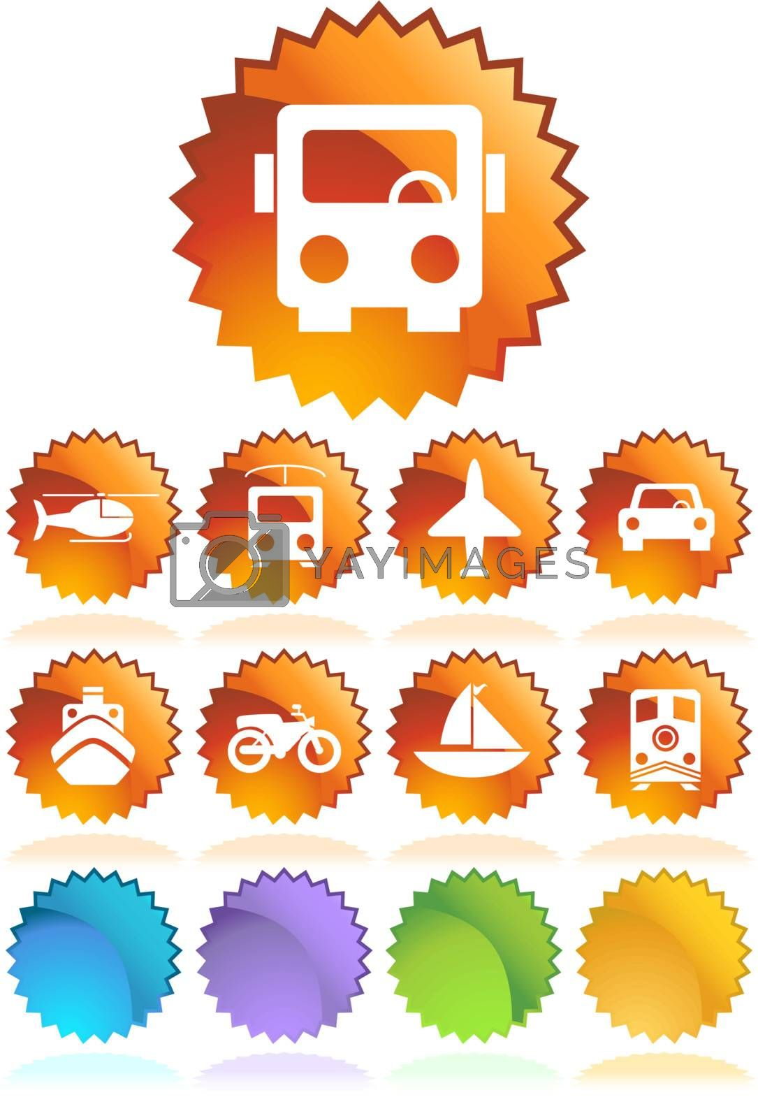 Set of 9 transportation web buttons - seal style.