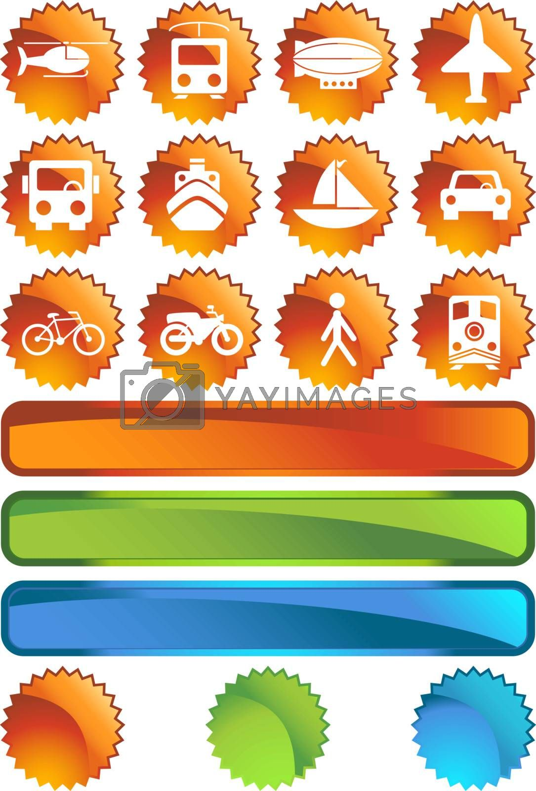 Set of 12 transportation web buttons - label style.